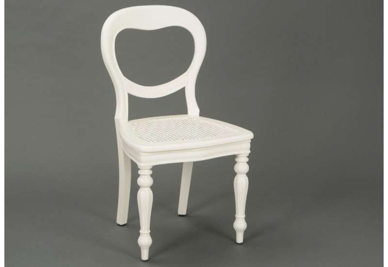 Chaise blanche chic assise rotin Agathe