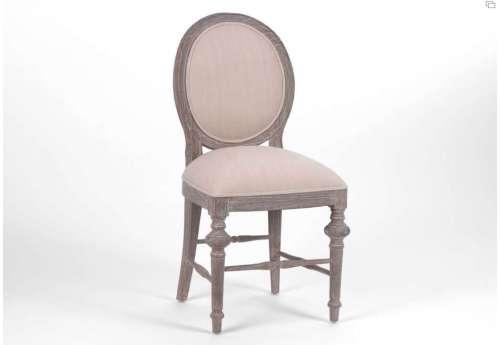 Chaise médaillon lin bois cérusé