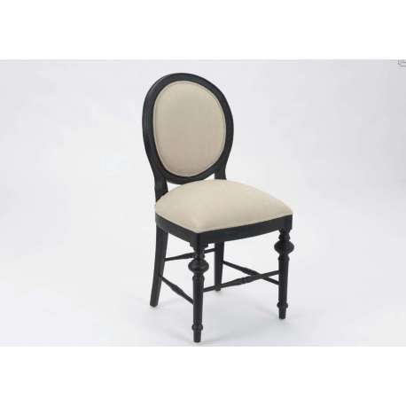 Chaise médaillon noire et lin