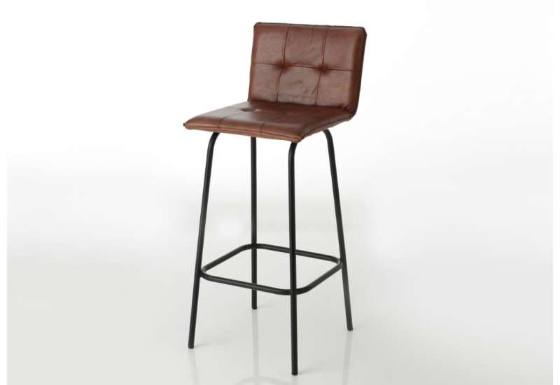 Chaise de bar Vintage cuir camel