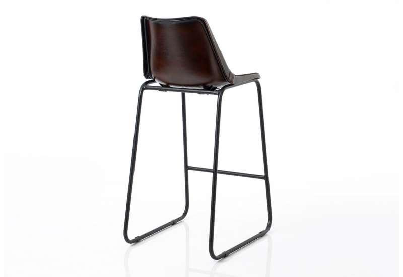 Chaise de bar Vintage cuir marron