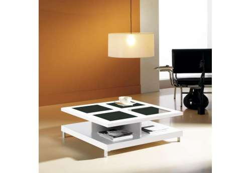 Table basse Carrée blanche et verre