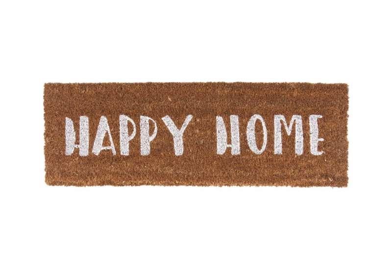 Tapis de porte Happy home blanc