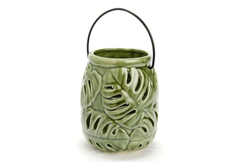 Lanterne Porcelaine Jungle verte