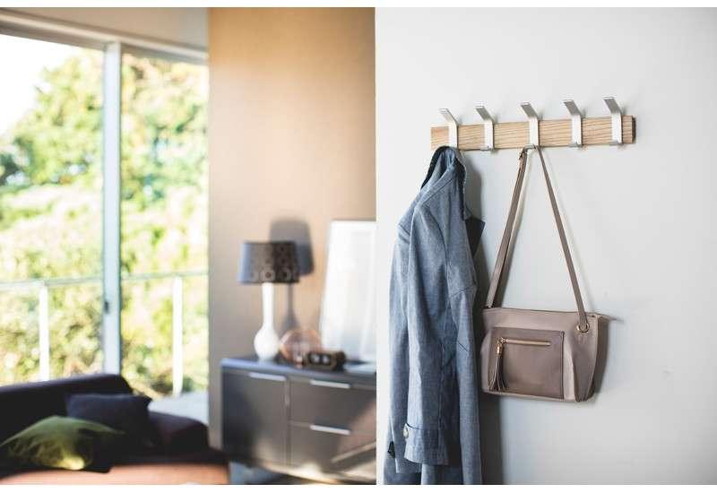 Porte manteau gris alu et bois