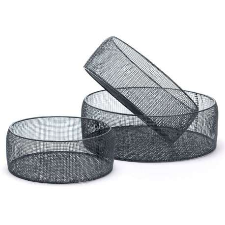Set de 3 paniers ronds noir