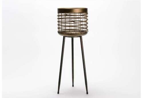 Cache pot Design métal et rotin