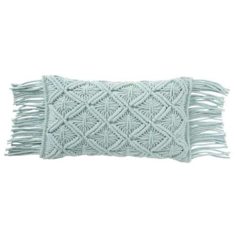Coussin Macrame Long Coton Aqua