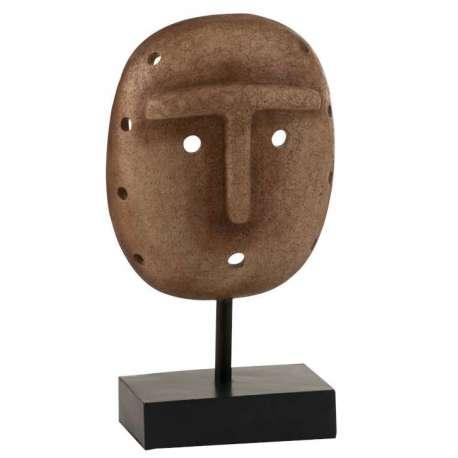 Statue Masque Ethnique Sur Pied Resine brun