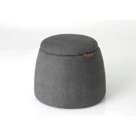 Pouf coffre rond design gris Amadeus