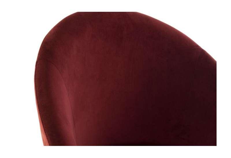 Fauteuil rouge velours contemporain dossier demi lune
