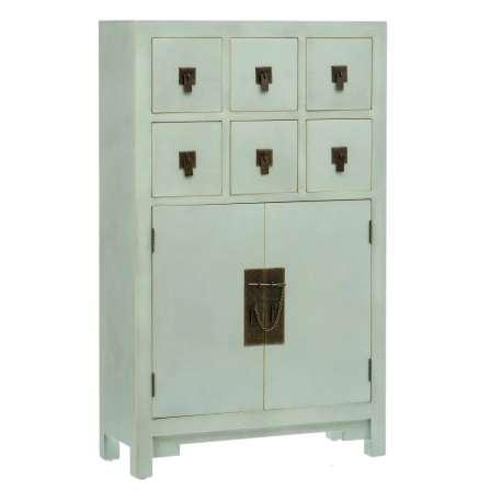 Armoire Shangai 2 portes 6 tiroirs couleur vert menthe