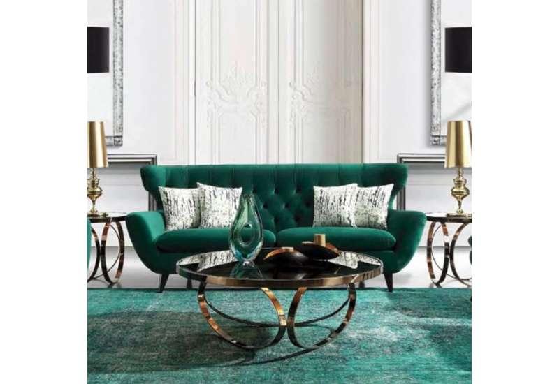 Canapé design velours vert 3 places
