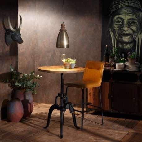 Table de salle à manger réglable en bois de manguier