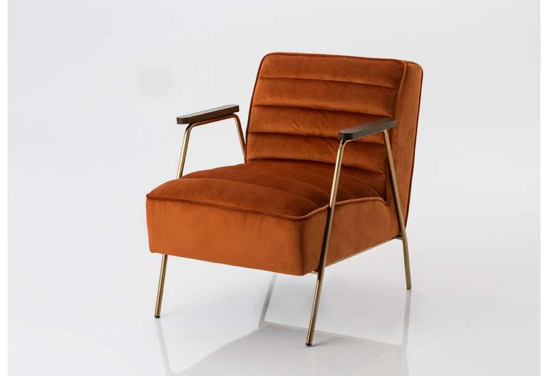 Fauteuil en velours orange Amadeus