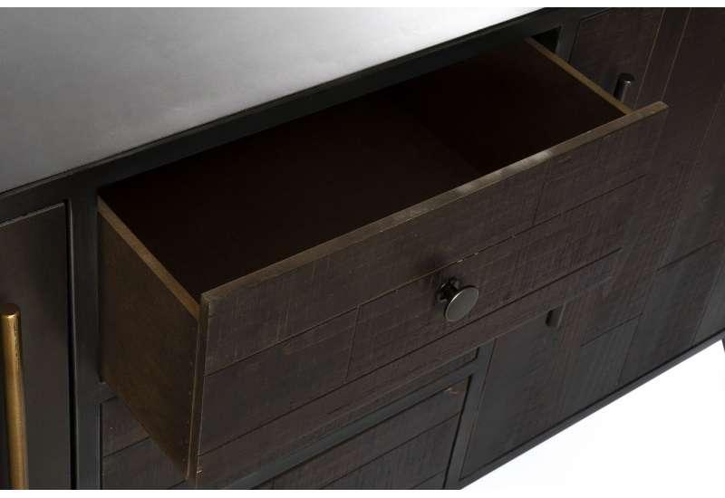 Grand buffet industriel 160 cm métal noir et bois