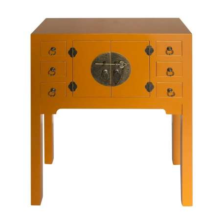 Console chinoise ocre 2 portes 6 tiroirs