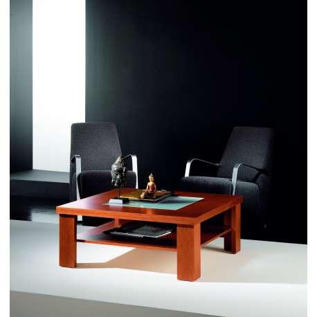 Table basse carrée verre et bois