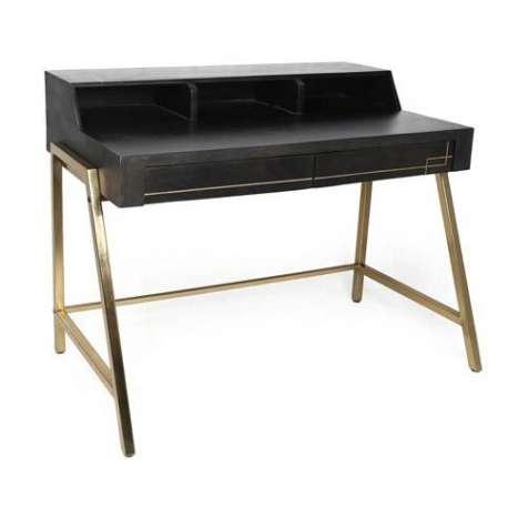 Bureau noir bois massif et métal