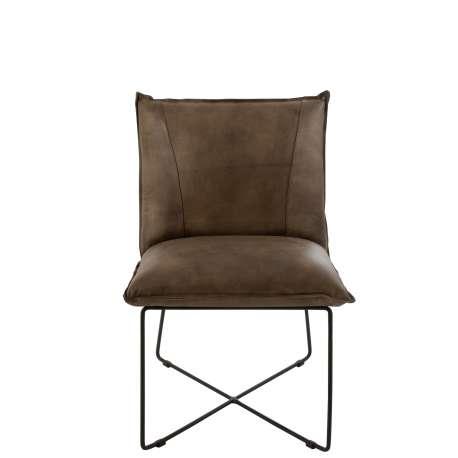Chaise Lounge Cuir/Fer Gris-Vert J-line