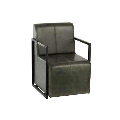 Chaise Cuir/Metal Vert/Noir