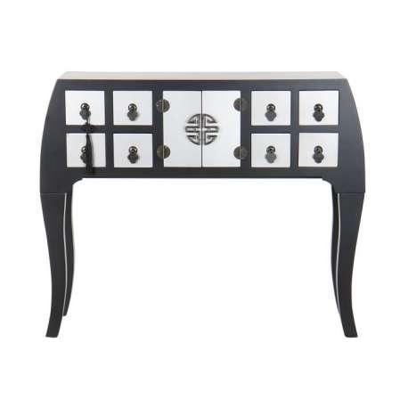 Console Chinoise Macao 8 tiroirs 2 portes noire et argent