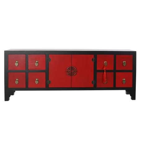 Meuble tv Chinois Macao Noir et Rouge 4 tiroirs 2 Portes