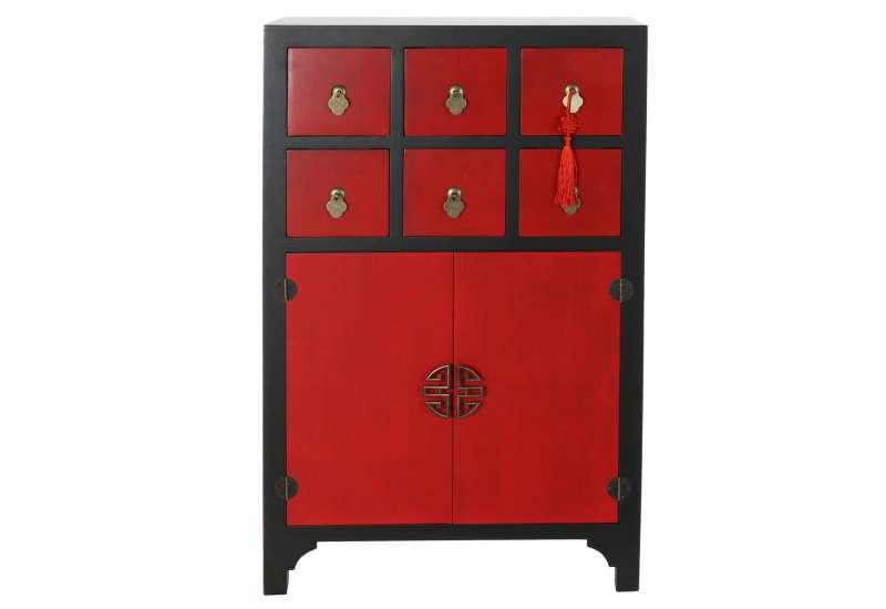 Armoire Chinoise Basse Macao Noire et Rouge
