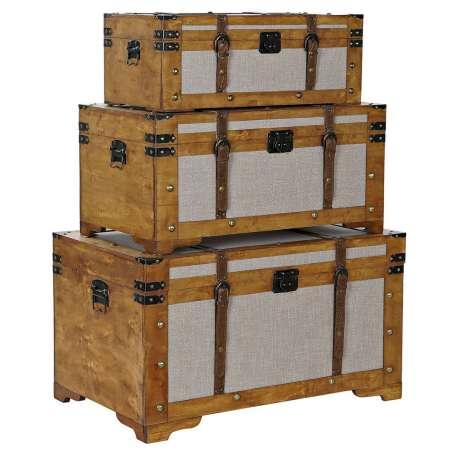 Set de 3 coffres en peuplier et Toile 81X49X45 Marron