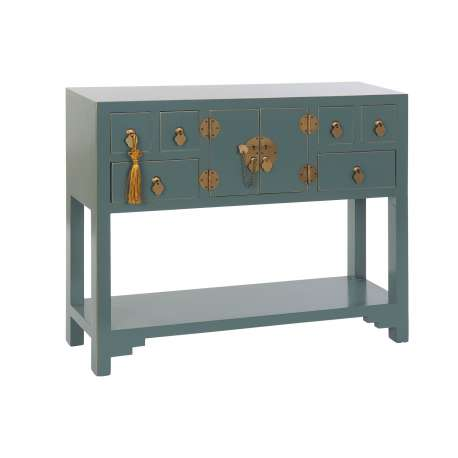 Console Chinoise Macao 6 tiroirs 2 portes VERT