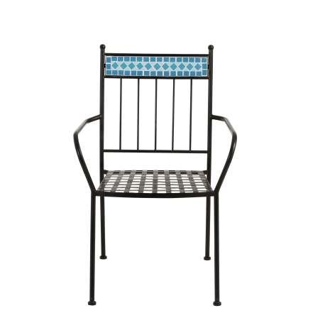 Chaise mosaïque métal bleu