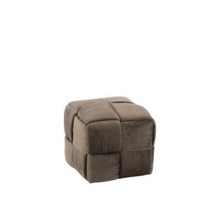 Pouf Design Taupe Bois/Textile
