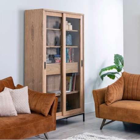 Armoire vitrée Tang en bois de frêne