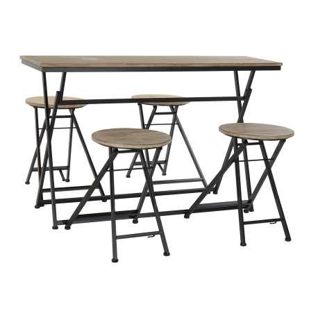Table d'appoint et 4 tabourets bois métal