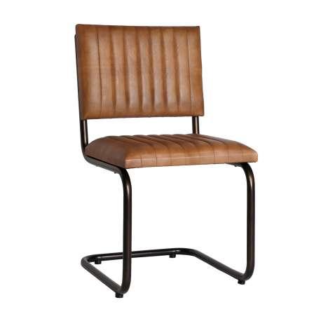 Chaise Chadron style vintage en métal et cuir
