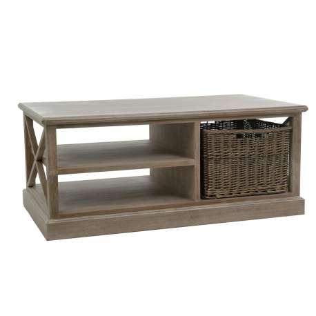 Table salon bois avec panier