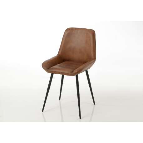 Amadeus - Lot de 2 chaises cuir Antoine