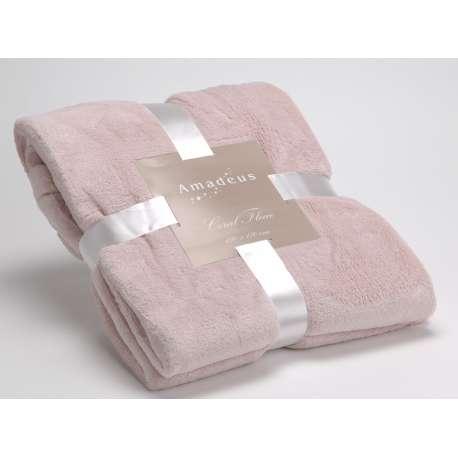 grand plaid tout doux de couleur vieux rose de la marque amadeus. Black Bedroom Furniture Sets. Home Design Ideas