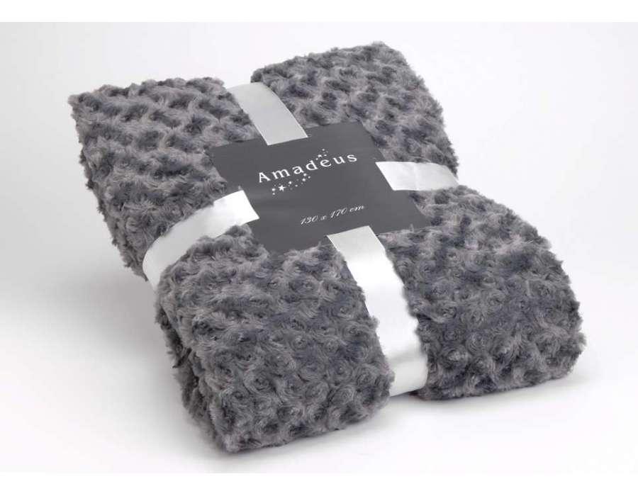 Plaid gris fonc marque amadeus 130 cm par 170 cm for Amadeus decoration
