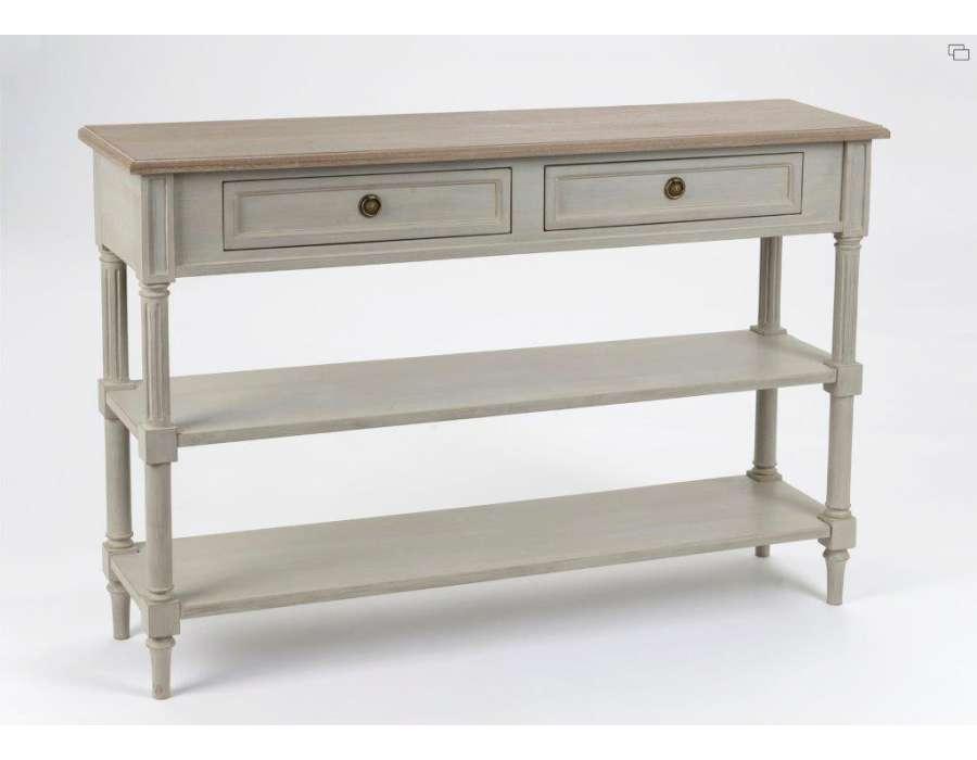 console bois de 120 cm avec un plateau ch ne et 1 tiroir. Black Bedroom Furniture Sets. Home Design Ideas