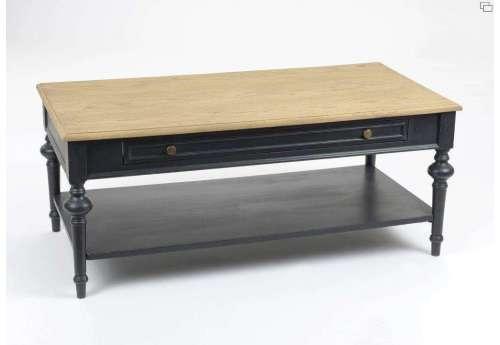 Table salon bois noir cérusée Amadeus
