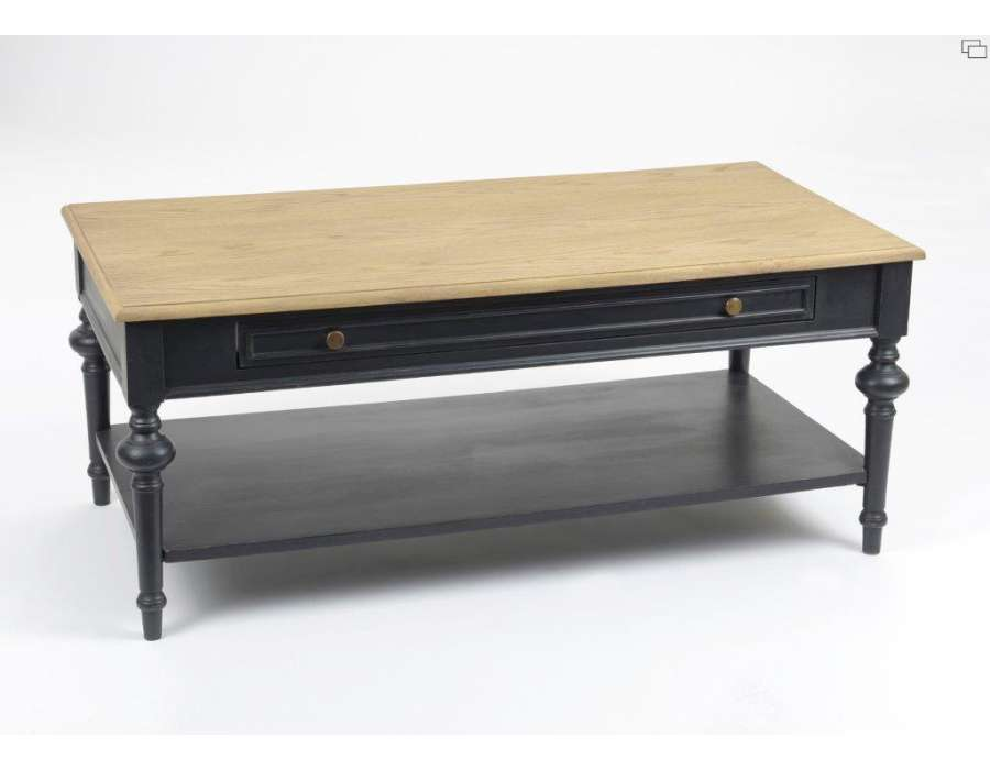 Table basse noire c rus e avec plateau ch ne clair amadeus for Table de salon plexiglass
