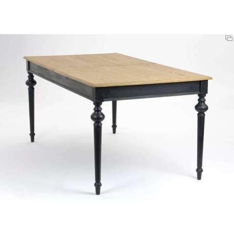 Table noire bois c rus e de style rustique for Salle a manger table noire