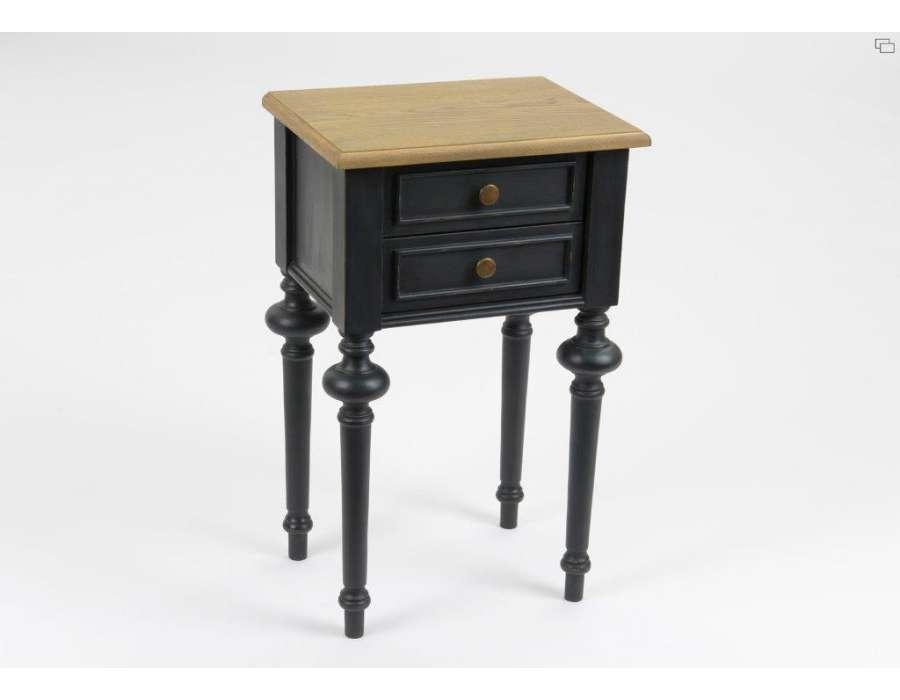 Table De Nuit Noire Cerusee Meuble De Chambre Amadeus