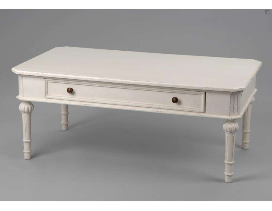 table basse blanche amadeus style directoire. Black Bedroom Furniture Sets. Home Design Ideas