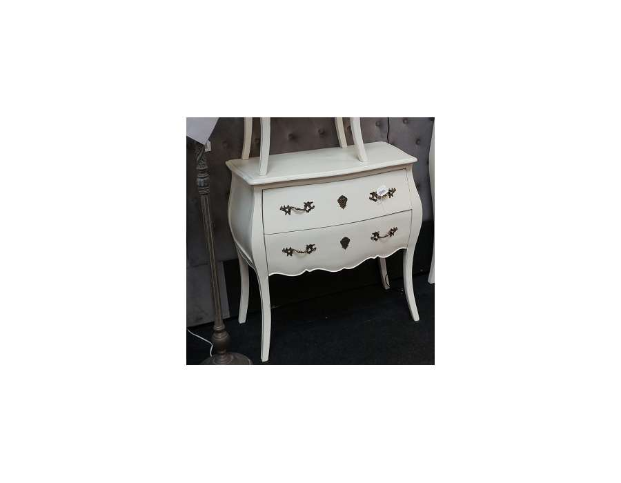 Commode blanche baroque 2 tiroirs ou commode romantique blanche - Commode blanche baroque ...