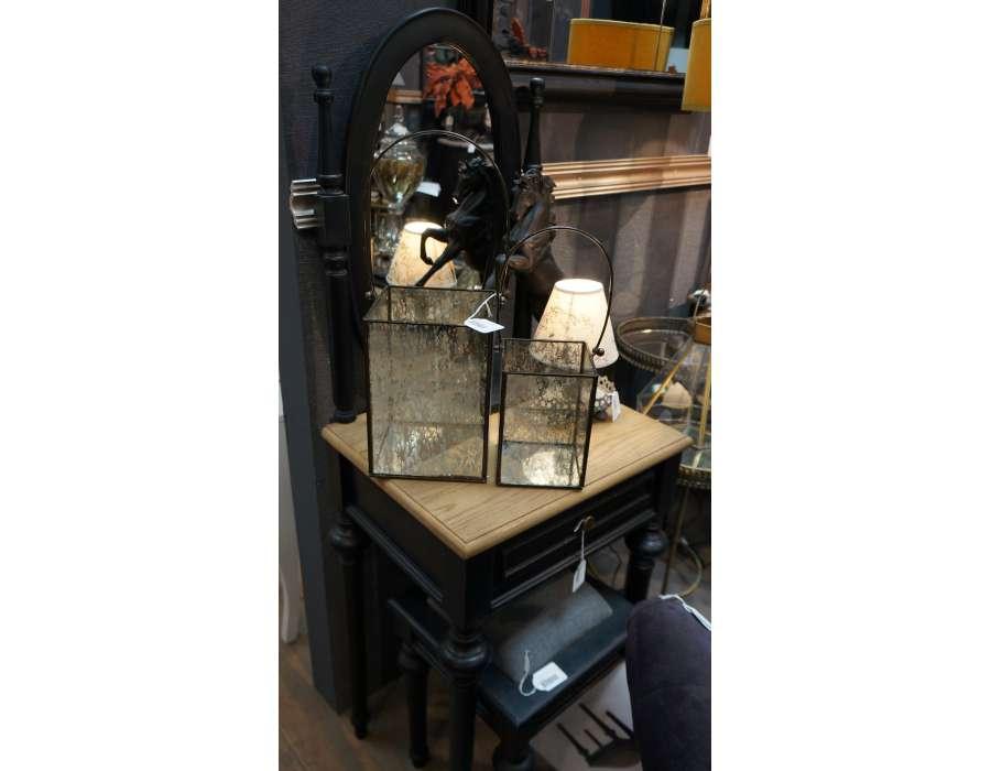 Coiffeuse chambre noire en bois avec miroir oval - Coiffeuse meuble noir ...