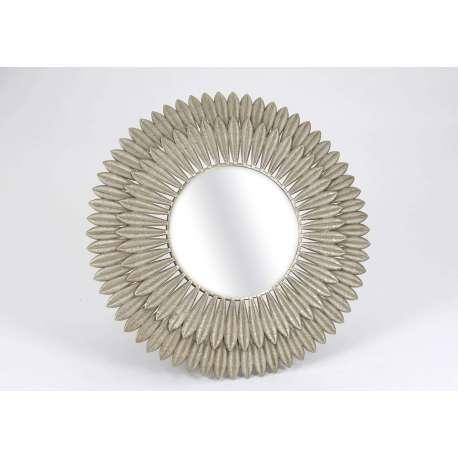 Miroir dor rond avec plumes int rieur baroque - Peindre un miroir dore ...