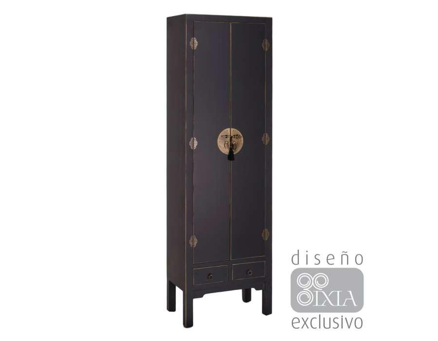 armoire 2 portes noire vieillie style chinois pour une chambre. Black Bedroom Furniture Sets. Home Design Ideas