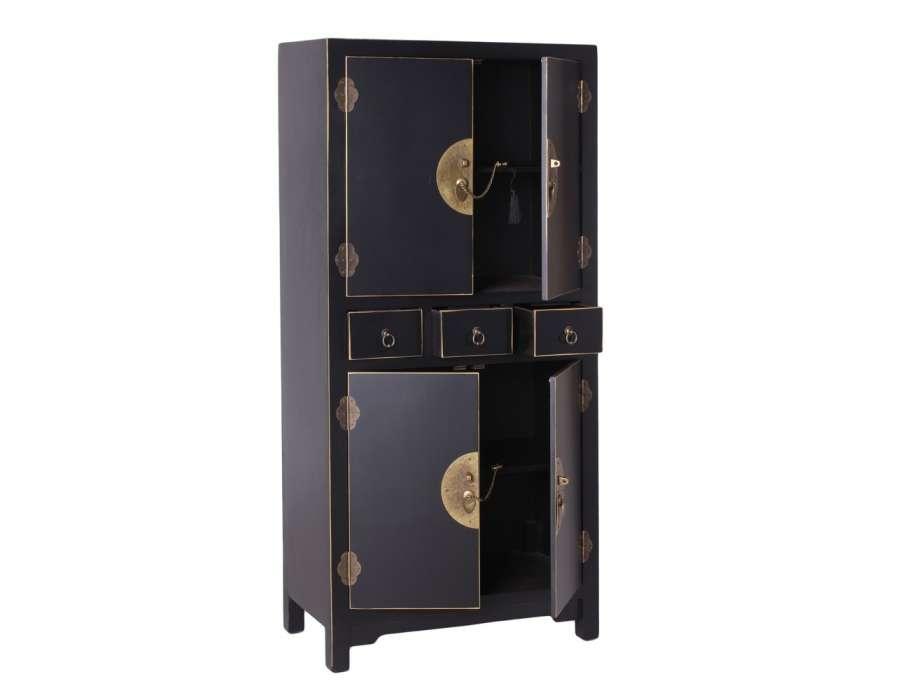 Armoire noire vieillie chinoise pour une chambre - Armoire noire portes ...